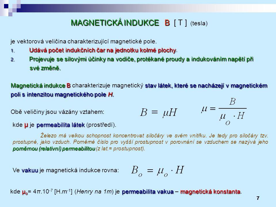 MAGNETICKÁ INDUKCE B [ T ] (tesla)